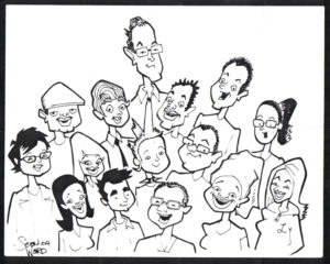 A sketch of Ryan's business class friends by Sean Ward.